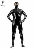 Wholesale Shiny Metallic Eyes Open Black Tight Zentai Costume Bodysuit One Piece Spandex Mens Second Skin Suits Zip Full Body Unitards