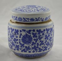 antique pottery porcelain - Antique Jingdezhen Ceramic pottery tradition Jar Canister antique blue and white porcelain tea caddy