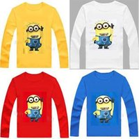 100 % cotton t shirts - 2016 New Cheap Cotton Boys Girls t shirt despicable me minion short t shirts kids baby children t shirts child long sleeve clothes