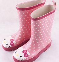 kids rubber boots - 2014 Kids Rain Shoes Girls Hello Kitty Waterproof Boots For Kid Girl Rubber Boot Children Grils Rainboots botas de lluvia