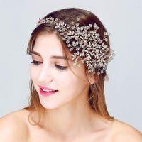 prom hair accessories - Handmade Stunning Rhinestone Beads Wedding Hair Vine Accessories Gold Bridal Tiara Headband Women Party Prom Headpiece