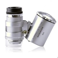 Wholesale Brand New x Handheld Mini Pocket Microscope Loupe Jeweler Magnifier With LED Light Christmas Gift RSI