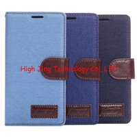cover For Sony Xperia Z2 - Jeans Cloth Wallet leather case for Sony Xperia Z2 Z3 Z4 Z5 Flip Cover With Credit Card Slots Holder Leather Cover