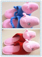 Wholesale Peppa Pig Plush Slippers for girl boy House Indoor Cotton Shoes us kid size women size Christmas Gift New year gift pair