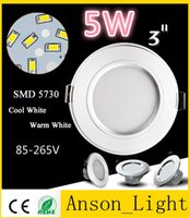 """5w No LED 2015 New Arrival LED Downlights 3"""" 5W 85-265V SMD 5730 Recessed Ceiling Down Lights LED Panel Lamps Warm Cool White + Power Drivers"""