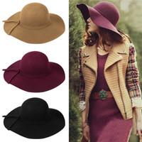 Wholesale 2015 Summer Hats For Women Wool Foldable Retro Wide Large Brim Floppy Beach Sun Hat Cap For Ladies Vacation Tour Hat