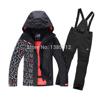 Wholesale TWO pieces sport suit female outdoor sport suit women winter ski snow suit top hoodie jacket strap pants