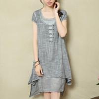 big flax - 2016 new Chinese style women fashion cotton linen dress retro big yards fake art piece flax Women dresses