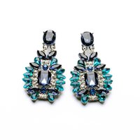 best brand fines - 4 pair Luxury Noble Green Blue Crystal Earring For Women Fine Elegant Lady All match Party Accessories Best Gift Brand Jewelry
