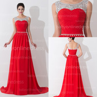 Wholesale Hot Red Chiffon Designer Evening Dresses Real Image Crystal Beads Bateau Neck Sleeveless Pleats A Line Formal Party Prom Gowns BZP0461