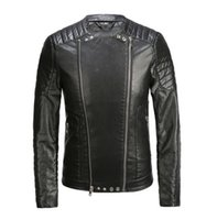 crystal diamond skull - 2016 Balmain New Italy Style Men Fashion Runway PU Leather Biker Jacket Coat Size M XL