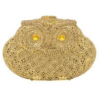 leather owl purse - Women s owl handmade Clutch Handbags PU Inner Decoration Clutch Purse Crystal Rhinestone Luxury Evening Bags