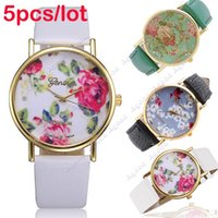 Wholesale 5pcs New fashion women Synthetic Leather Rose Flower Wristwatches Quartz Watches SV002723