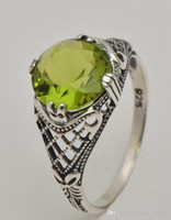 antique peridot ring - 100 of the European royal classic antique impressive peridot ring sterling silver ring fashion and personality