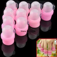 Wholesale 10pcs Wearable Salon Acrylic Nail Polish Remover Soak Soakers Cap Tool Pink UV Gel