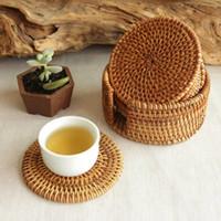 antique cane - Vietnamese rattan cane mat coasters coasters suit tea pot mat rattan mats antique handmade coasters