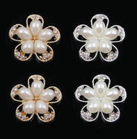 Cheap 30% off 25mm hot gold silver flower pearl alloy button hair bow rhinestone button flat back embellishment DIY hair accessory MF 30pcs lot