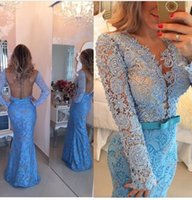 Cheap 2015 Hot vestido de festa Evening Dresses Sexy Backless Long Sleeve Lace Beaded V Neck Bow Prom Dresses Real Picture Party Gown Floor Length