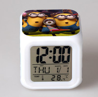 Cheap cute high quality minion alarm clocks square LED Colorful Glowing multicolors Change Digital ring clock D1564