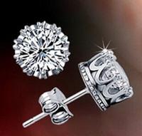 zirconia stud earrings - Fashion Sterling Silver Crystal Crown earrings CZ Stud Earrings Cubic Zirconia Stud Earrings With beautiful wedding engagement gift
