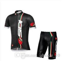 cycling jersey wholesale - 2015 New Arrival Black Cycling Jersey Set Short Sleeve Cycling Clothes With Cycling Tops Padded Bib Trousers Bike cycle Suit LJJC1178 sets