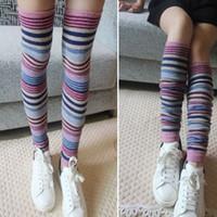 amazing leg - Amazing Fashion Winter Warm Stripe Thigh High Women s Leg Warmers Boot Socks