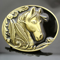 Wholesale Western Vintage Gold Native American D Horse Head Feather Rodeo Zuni Navajo Belt Buckle Jewelry