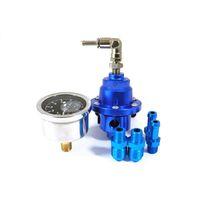 Wholesale Superior Adjustable Fuel Pressure Regulator With Filled Oil Gauge Aluminum Blue