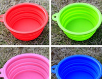 Wholesale Portable Pet Dog bowl Silicone Collapsible Feeding Water Feeder Travel Bowl Dish Cats bowl Dog Supplies Colors