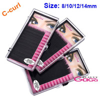 artificial eye lashes - 2015 Makeup supply box set mm C Curl Natural Handmade MINK Artificial False Eyelashes for eye lashes extension