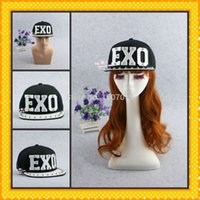 Wholesale Studded Hip Hop Hat - Wholesale-Free Shipping high-quality New Arrive EXO Letters Hip-hop Hat Acrylic Board Rivet cap Jazz Hat Baseball Spike Studded Caps