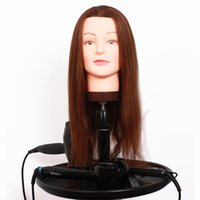 training manikins - Salon Hairdressing Training Dummy Head Cosmetology Manikin Doll Heads With Real Human Hair For Barber Hairstyling Practice Free Holder