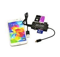 Cheap Combo OTG Hub Mobile Phone Cables Micro USB Cable Card Reader Data Tablet Adapter BK For Computer Samsung Galaxy S3 S4 S5 etc