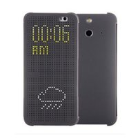 Wholesale Selljimshop Ultra Thin Dot View Flip Leather Case Cover for HTC One E8