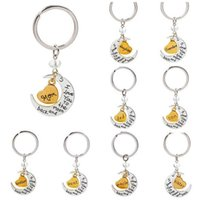 Wholesale Free Ship NEW I love you to the moon and back keychain Key Ring Set Style HOT