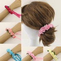 Wholesale 10pcs Handmade Women Headbands Bracelets With Paper Flowers Hairband More Colors Handbands For Bride Wedding Wear