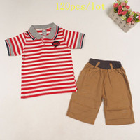 american minute - 120pcs new summer style short sleeve Red white striped Polo t shirt seven minutes pants with holes clothes suit For baby Boys