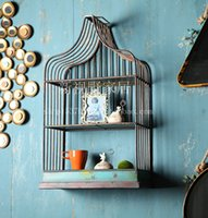 Wholesale Vintage American country to do the old wrought iron racks color birdcage wall shelving ledge shelf bracket