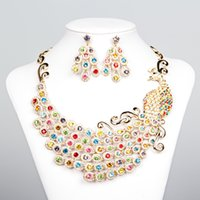 african style jewellery - Peacock Style Rhinestones African Bridal Jewelry for Bride Party Wedding Jewellery Sets Necklace Diamond Bridal Accessories Gold Black