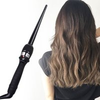 Wholesale 2016 Curlers Conical Curling Iron Single Tube Ceramic Glaze Pear Flower Cone Electric Hair Curly Hair