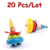 Wholesale Baby Classic Toys Spinning Top Wooden Toys Rotating Multicolour Kids Educational Toys Child Gift