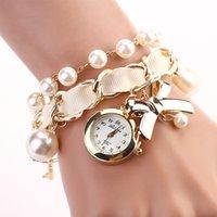 Wholesale Bracelet Watch Rudder bowknot colorful Lady Quartz Wristwatches Artificial pearls Women Rhinestone Watches New PromotionsXR623