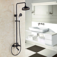 bathroom lifts - black Brass Rotatable Lifting Shower Set Faucet Dual Handles Bathroom Shower Mixer Tap with Handshower