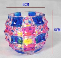 Wholesale Stained crystal glass candle holders wedding decoration creative candle cups decorated the living room home decor