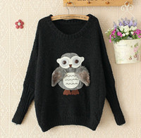 Wholesale Women s Long Batwing Sleeve Pullover Cute Owl Sweaters Winter Big Girls Crochet Clothes Ladies All Matched Knitted Clothing Gray Black M2324