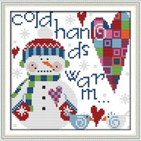 cross stitch fabric - 22 cm DIY Handmade Counted Cross Stitch Set Embroidery Needlework Kits Christmas Snowman Pattern Cross Stitching