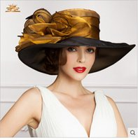 ladies church hats - 2015 Ladies Church Hats Organza Wedding Hat Handmade Flowers Women Hats Wide Brim Hats Wedding Party Accessories Custom Made For Women