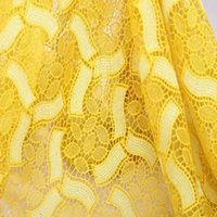 lace fabric wholesale - Unique embrodiery Design Yellow Guipure Lace Fabric Latest Cupion Embroidery Lace Cord Lace Fabric For Nigerian Wedding