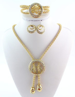 Wholesale Fashion Gold Plated Snake Chain Crystal Necklace Bracelet Ring Earrings Jewelry Sets