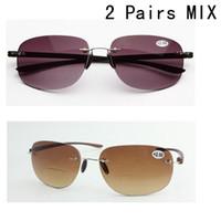 bifocal sun glasses - Pairs Mix Patented Sun Readers Rimless Bifocal Sunglasses Reading Glasses Brown Purple Men and Women